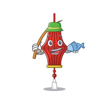 Cartoon character of funny Fishing chinese paper lanterns design. Vector illustration 일러스트