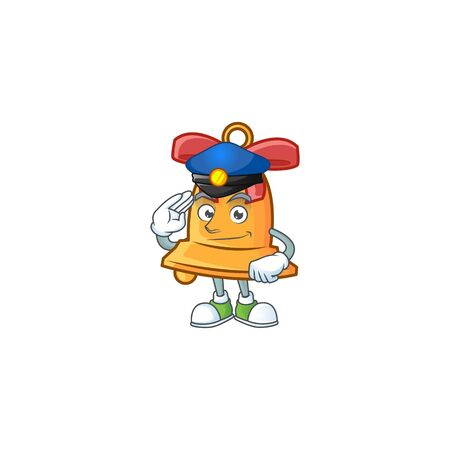 Christmas bell Cartoon character dressed as a Police officer  イラスト・ベクター素材