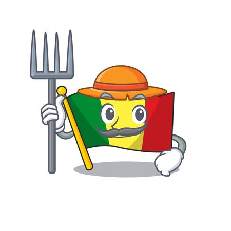 Farmer flag mali cartoon character with hat and tools. Vector illustration