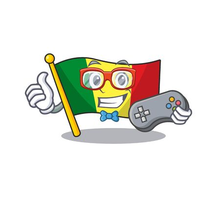 cute geek gamer flag mali cartoon character style. Vector illustration
