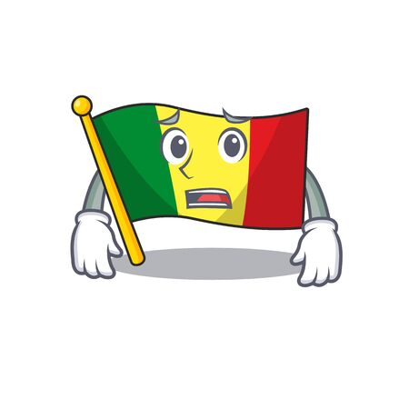 Flag mali Cartoon character showing afraid look face. Vector illustration Ilustração