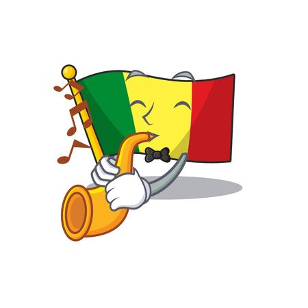 Supper cool flag mali cartoon character performance with trumpet. Vector illustration 일러스트