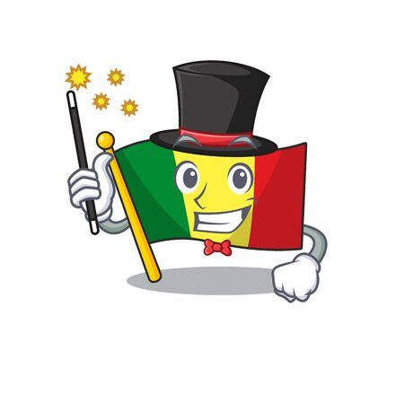 Cartoon character design of flag mali Magician style. Vector illustration Foto de archivo - 134656721