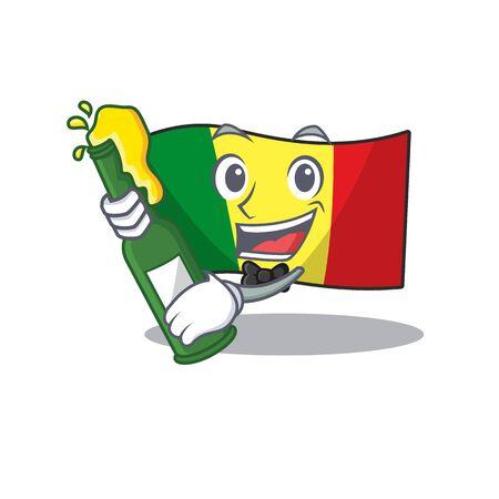Super cool Boxing winner flag mali in mascot cartoon style. Vector illustration Archivio Fotografico - 134656839