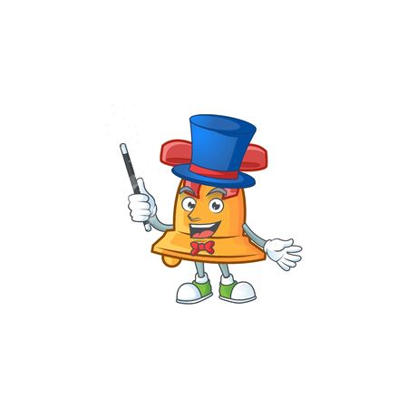 Cartoon character of christmas bell Magician style. Vector illustration Foto de archivo - 134657293