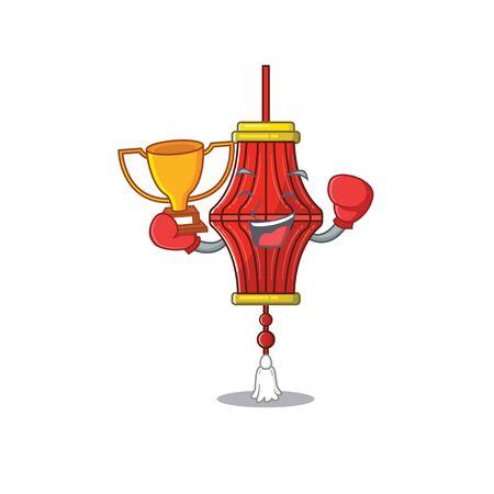 Super cool Boxing winner chinese paper lanterns in mascot cartoon style. Vector illustration Archivio Fotografico - 134686746