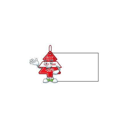Christmas best price tag with board cartoon character style. Vector illustration