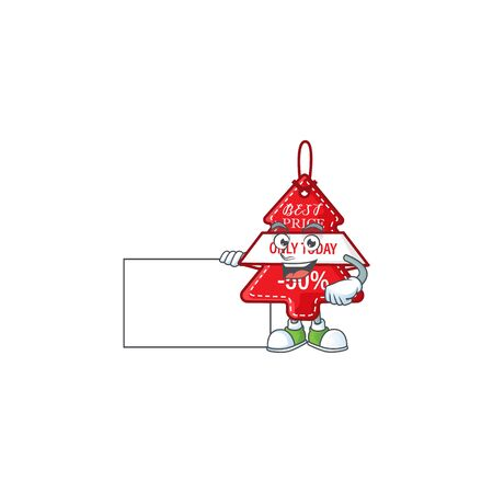 Christmas best price tag cute cartoon character with a board. Vector illustration Stock Illustratie