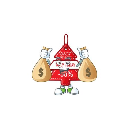 Cute christmas best price tag cartoon character smiley with money bag