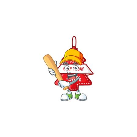 Funny smiling christmas best price tag cartoon mascot playing baseball. Vector illustration