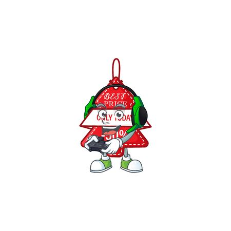 Gamer christmas best price tag cartoon character with headphone and controller. Vector illustration Stock Illustratie