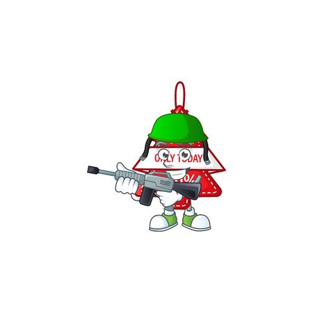 A cartoon style of christmas best price tag Army with machine gun. Vector illustration