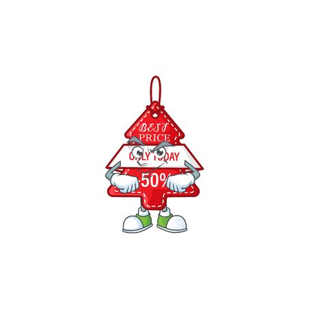Christmas best price tag mascot cartoon style with Smirking face. Vector illustration