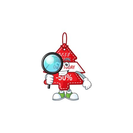 One eye christmas best price tag Detective cartoon character style