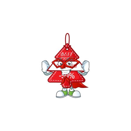 A cartoon of christmas best price tag wearing costume of Super hero