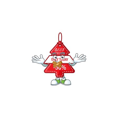 Christmas best price tag mascot cartoon character style making silent gesture