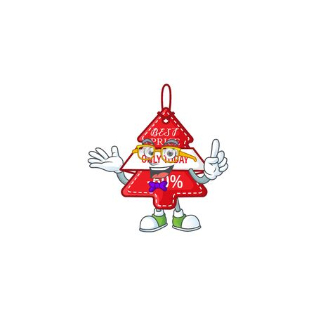 Super Funny Geek smart christmas best price tag mascot cartoon style