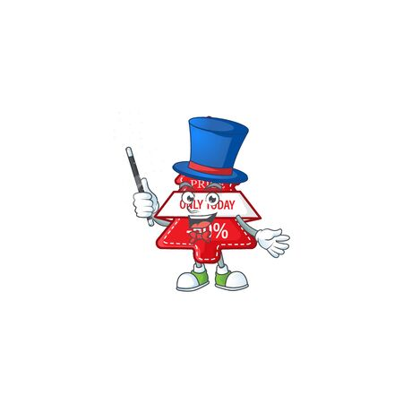 Cartoon character of christmas best price tag Magician style. Vector illustration