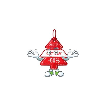 Super Cool Grinning christmas best price tag mascot cartoon style. Vector illustration Stock Illustratie