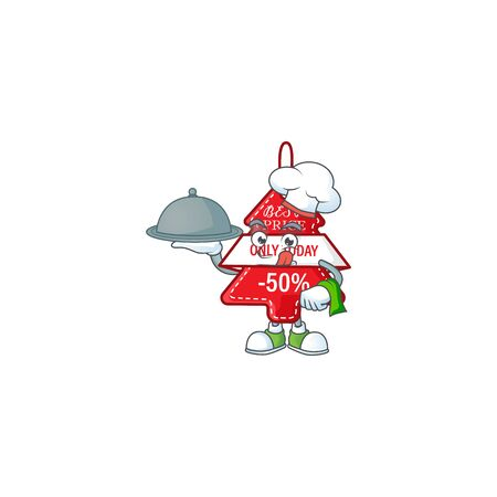 smiling christmas best price tag as a Chef with food cartoon style design