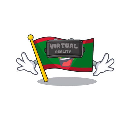 cool flag mauritania character in Virtual reality headset. Vector illustration