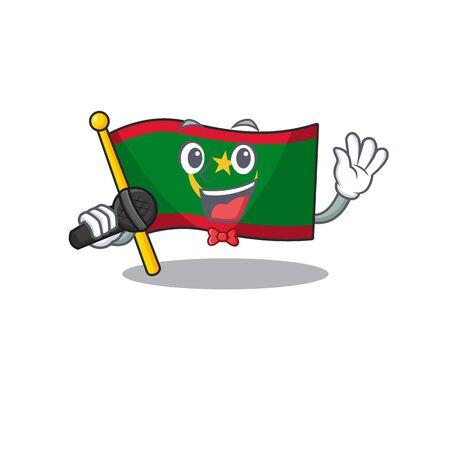 cartoon Singing flag mauritania while holding a microphone. Vector illustration Ilustração