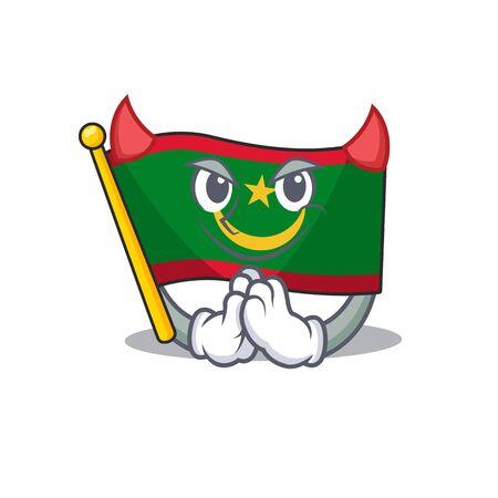 Cartoon character of flag mauritania on a Devil gesture design. Vector illustration