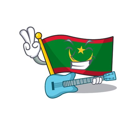 Super cool flag mauritania cartoon character performance with guitar. Vector illustration