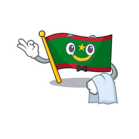 Flag mauritania Character on A stylized Waiter look. Vector illustration Ilustração