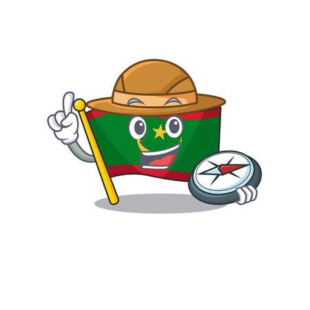 Explorer flag mauritania cartoon character holding a compass. Vector illustration