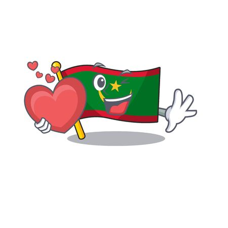 With heart flag mauritania cartoon character mascot style Ilustração