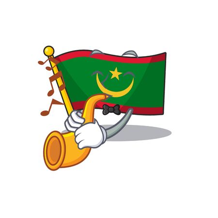Super cool flag mauritania cartoon character performance with trumpet. Vector illustration