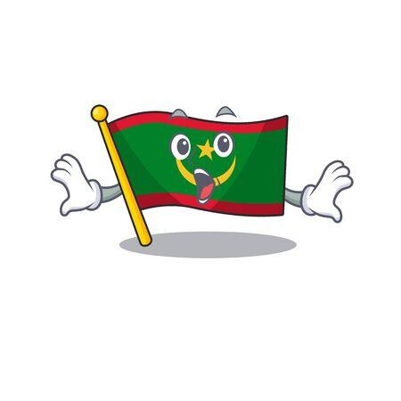 Surprised flag mauritania face gesture on cartoon style. Vector illustration