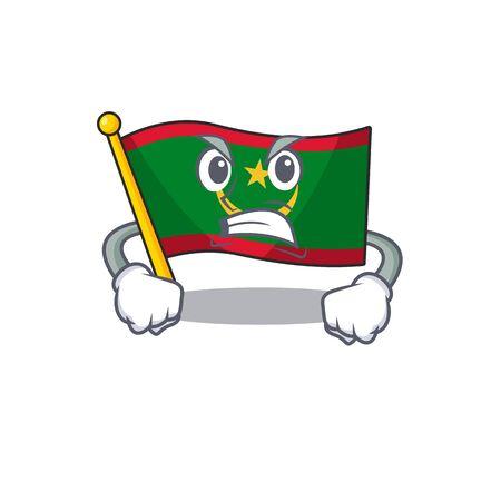 mascot of angry flag mauritania cartoon character style. Vector illustration Ilustração