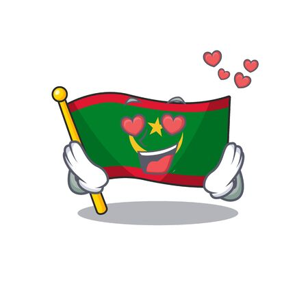 falling In love Happy cute flag mauritania cartoon design. Vector illustration