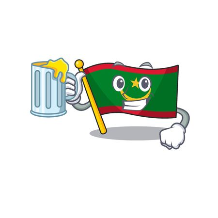 Happy flag mauritania holding a glass with juice. Vector illustration
