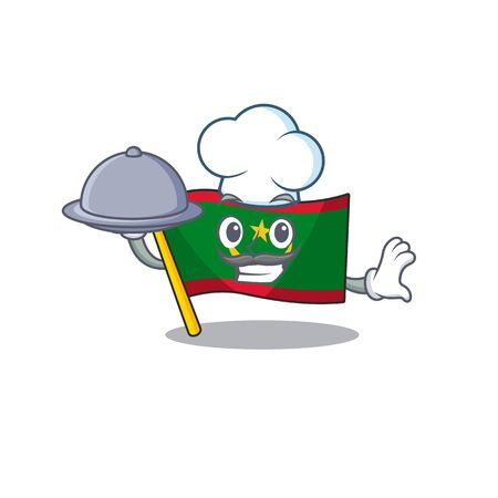 smiling flag mauritania as a Chef with food cartoon style design Ilustração