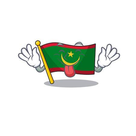 Super cute flag mauritania cartoon design with Tongue out. Vector illustration