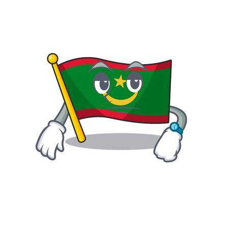Waiting flag mauritania on cartoon character mascot design. Vector illustration