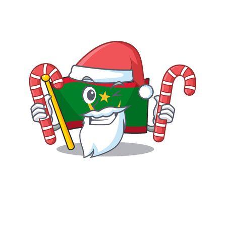 Flag mauritania Cartoon character in Santa with candy. Vector illustration