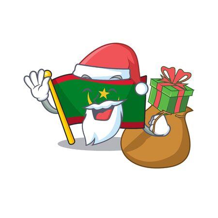Santa with gift flag mauritania Cartoon character design. Vector illustration