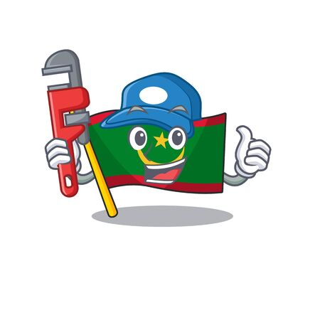 Plumber flag mauritania on cartoon character mascot design. Vector illustration