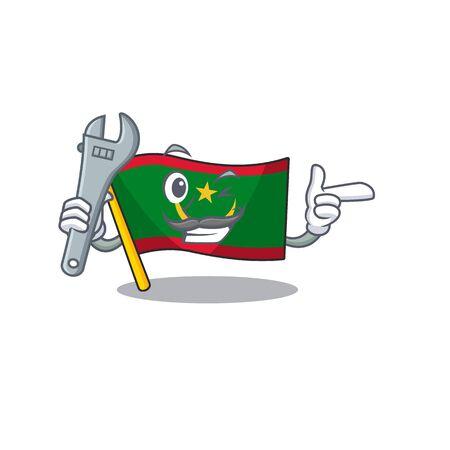 Professional Mechanic flag mauritania mascot cartoon character style. Vector illustration Ilustração