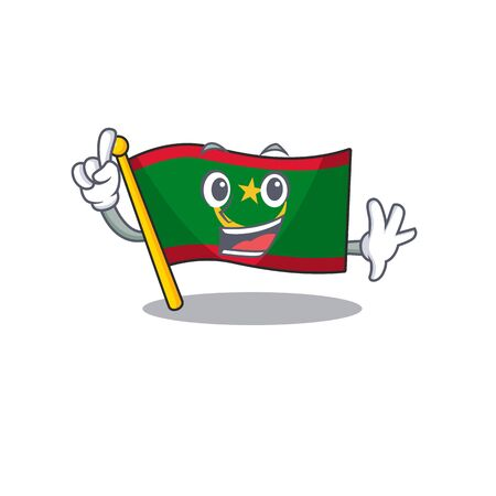 Finger flag mauritania in mascot cartoon character style. Vector illustration