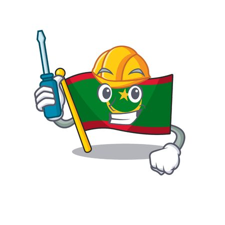 Cool automotive flag mauritania presented in cartoon character style. Vector illustration