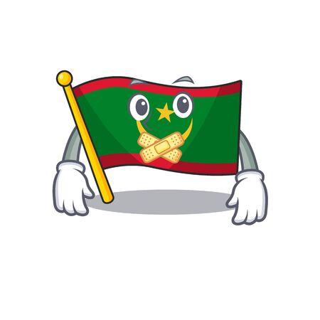 Flag mauritania mascot cartoon character style making silent gesture. Vector illustration Ilustração