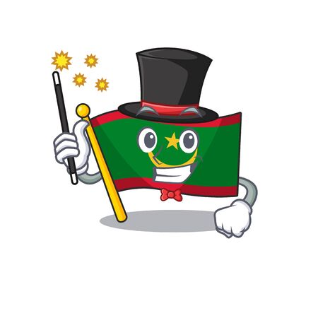 Cartoon character design of flag mauritania Magician style. Vector illustration Foto de archivo - 134685774