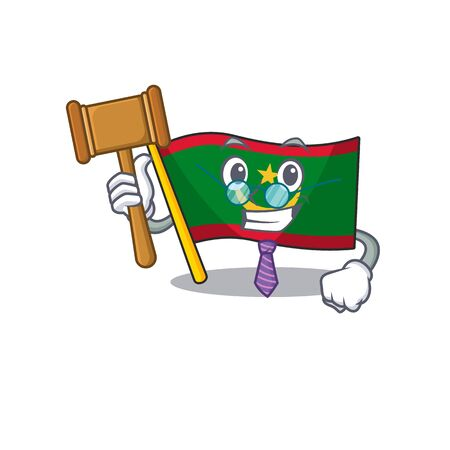 Smart Judge flag mauritania presented in cartoon character style. Vector illustration