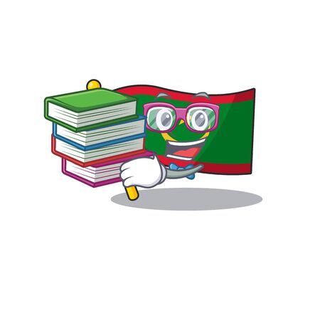 Student with book flag mauritania mascot cartoon character style. Vector illustration