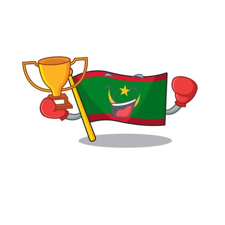 Super cool Boxing winner flag mauritania in mascot cartoon style. Vector illustration Archivio Fotografico - 134685800